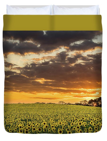 Sunflower Fields Sunset Duvet Cover