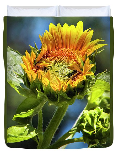 Duvet Cover featuring the photograph Sunflower Glory by Christina Rollo