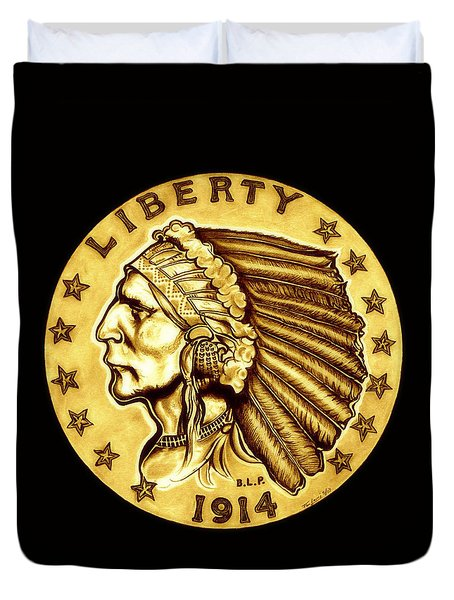 Sunflower Gold Quarter Eagle Duvet Cover by Fred Larucci