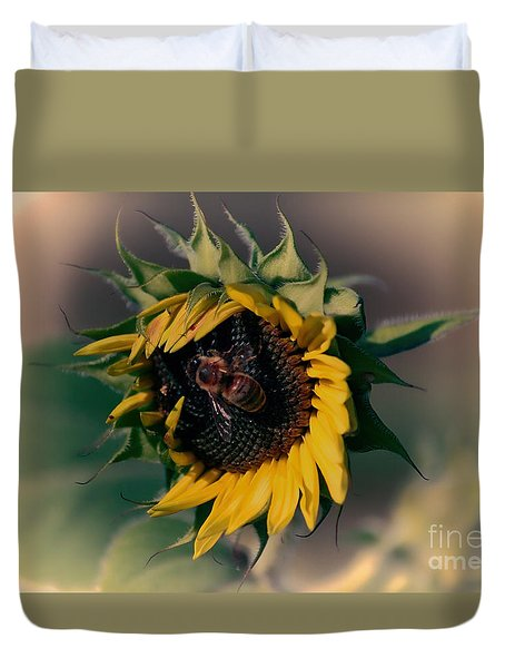 Sunflower Hug Duvet Cover by Erica Hanel