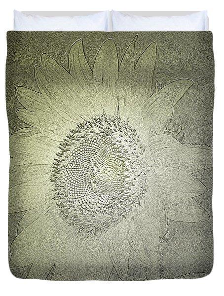 Sunflower In Antique Gold Duvet Cover