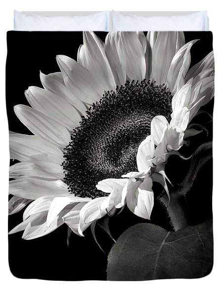 Sunflower In Black And White Duvet Cover