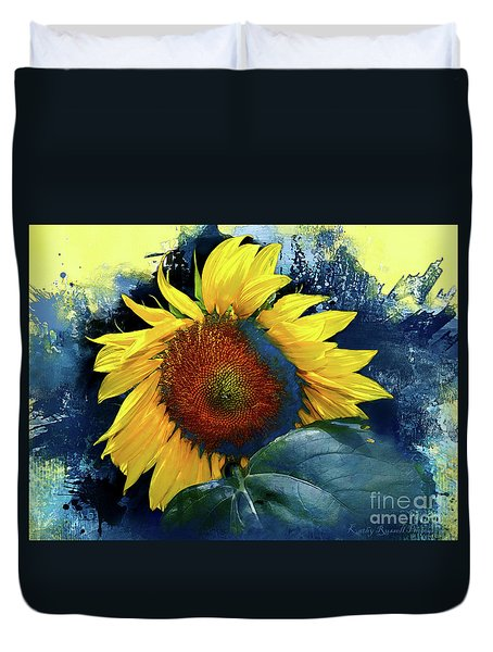 Sunflower In Blue Duvet Cover