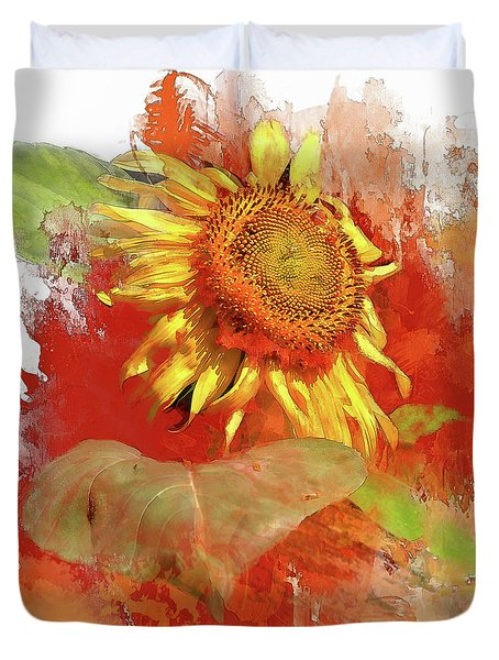 Sunflower In Red Duvet Cover