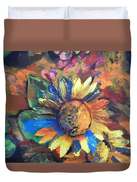 Sunflower In The Moonlight Duvet Cover by Esther Newman-Cohen