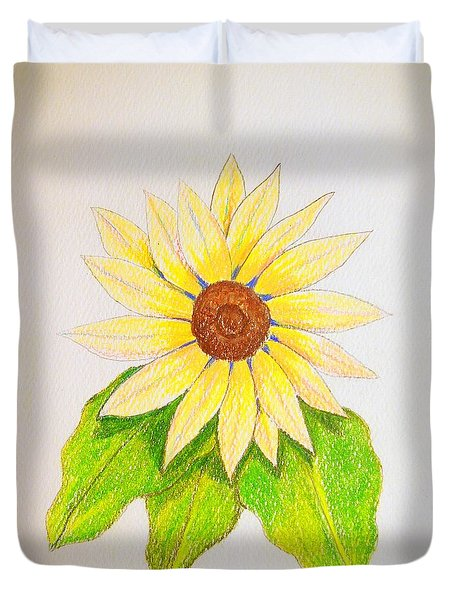 Duvet Cover featuring the drawing Sunflower by J R Seymour