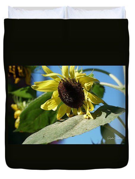 Sunflower, Lemon Queen, With Pollen Duvet Cover