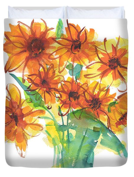 Sunflower Medley II Watercolor Painting By Kmcelwaine Duvet Cover