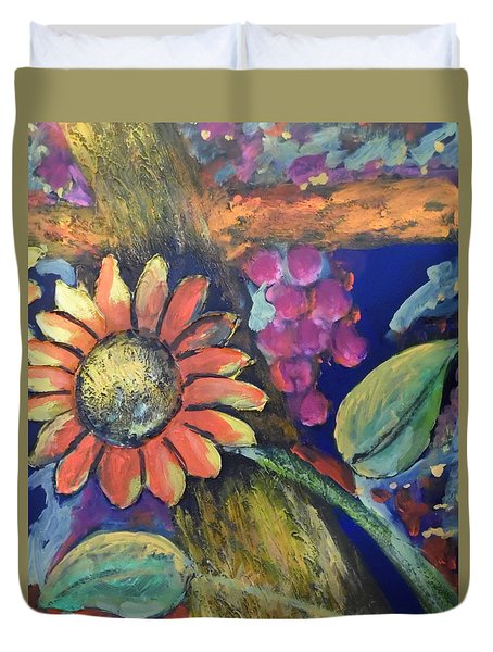 Duvet Cover featuring the painting Sunflower Meets Grapes by Esther Newman-Cohen