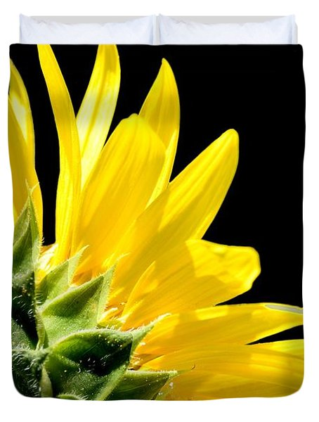 Sunflower On Black Duvet Cover