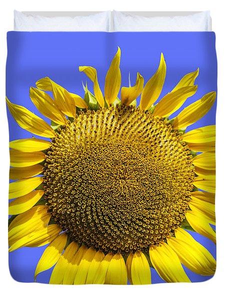 Sunflower On Blue Duvet Cover