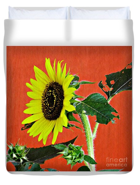 Duvet Cover featuring the photograph Sunflower On Red 2 by Sarah Loft
