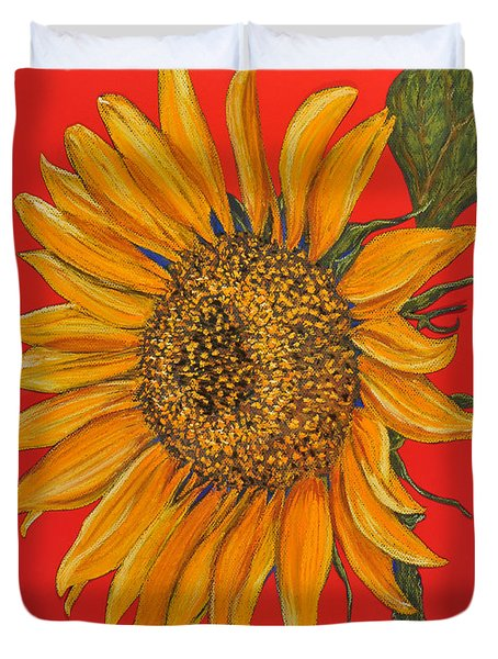 Da153 Sunflower On Red By Daniel Adams Duvet Cover