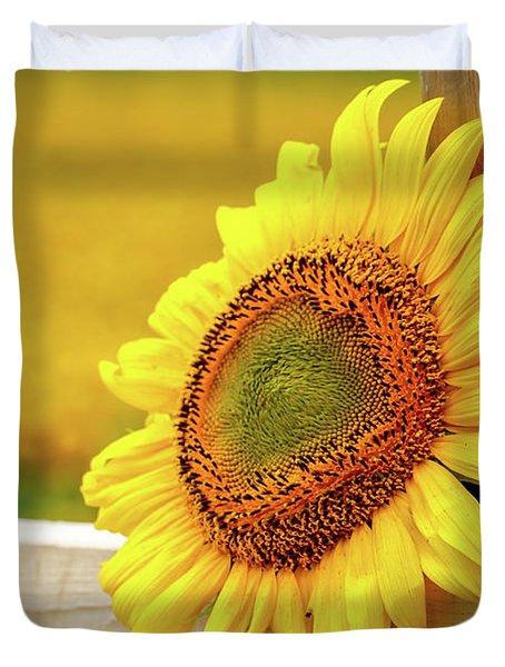 Sunflower On The Fence Duvet Cover