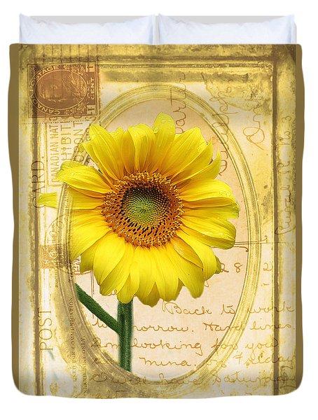 Sunflower On Vintage Postcard Duvet Cover by Nina Silver