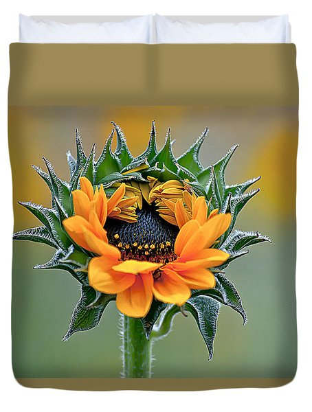 Sunflower Opens Duvet Cover by Emerald Studio Photography