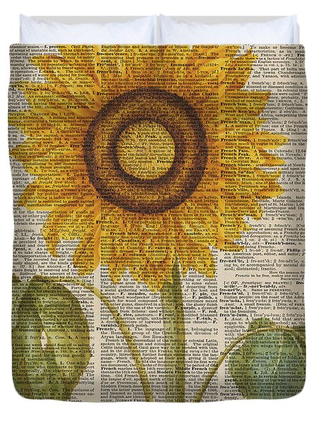 Sunflower Over Dictionary Page Duvet Cover