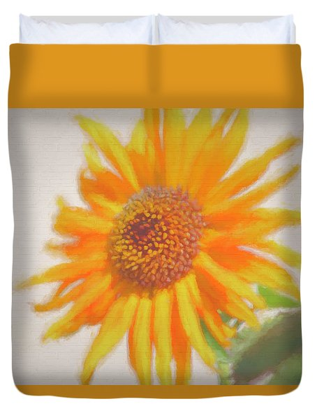 Duvet Cover featuring the painting Sunflower Painting by Debra     Vatalaro