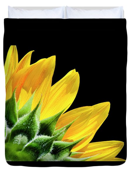 Duvet Cover featuring the photograph Sunflower Petals by Christina Rollo