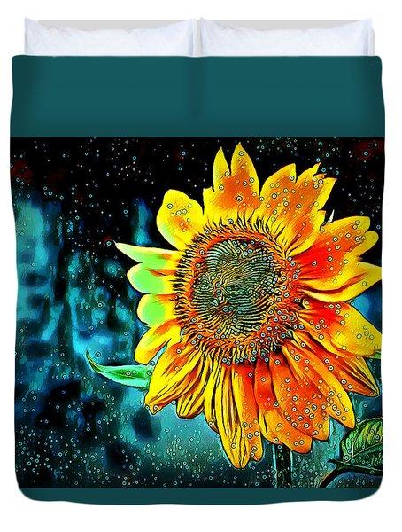Duvet Cover featuring the digital art Sunflower Rain by Pennie McCracken
