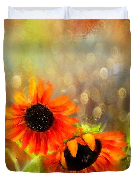 Sunflower Rain Duvet Cover