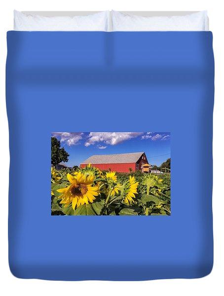 Sunflower Red Barn Duvet Cover