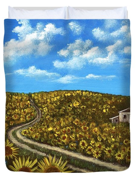 Duvet Cover featuring the painting Sunflower Road by Anastasiya Malakhova