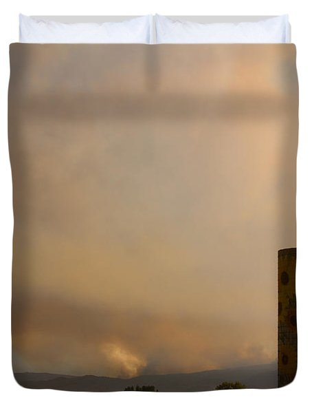 Sunflower Silo With The Four Mile Canyon Fire  Duvet Cover by James BO  Insogna
