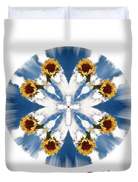 Sunflower Sky . Believe Duvet Cover by Renee Trenholm