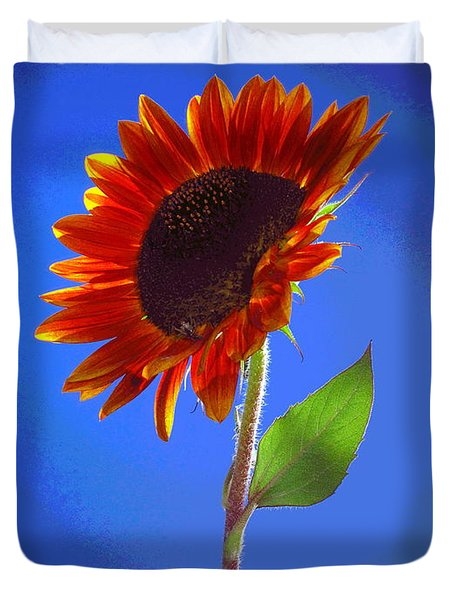 Duvet Cover featuring the photograph sunflower Solitaire by Joyce Dickens