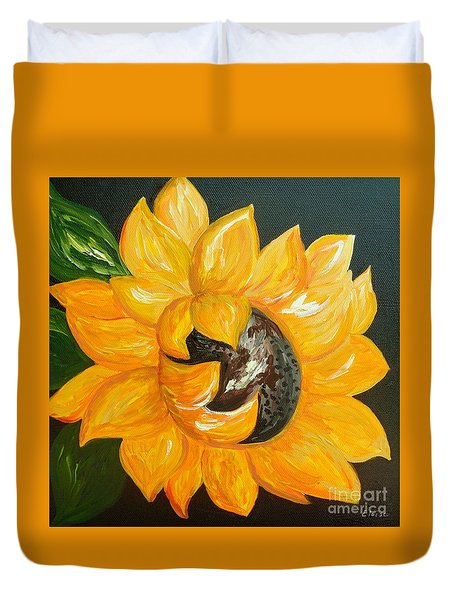 Sunflower Solo Duvet Cover by Eloise Schneider