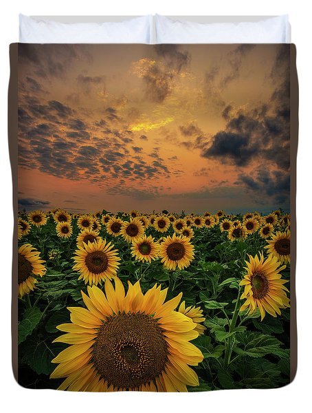 Duvet Cover featuring the photograph Sunflower Sunset  by Aaron J Groen
