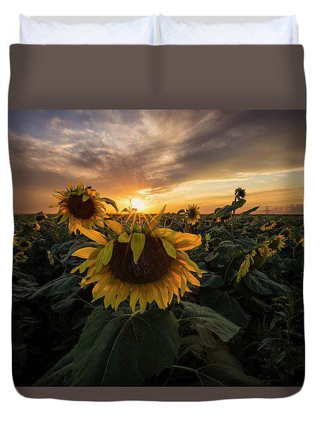 Duvet Cover featuring the photograph Sunflower Sunstar  by Aaron J Groen