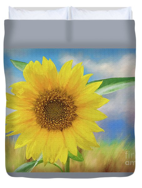 Duvet Cover featuring the photograph Sunflower Surprise by Bonnie Barry