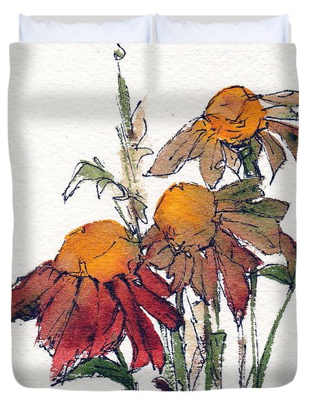 Duvet Cover featuring the painting Sunflower Trio #1 by Anne Duke