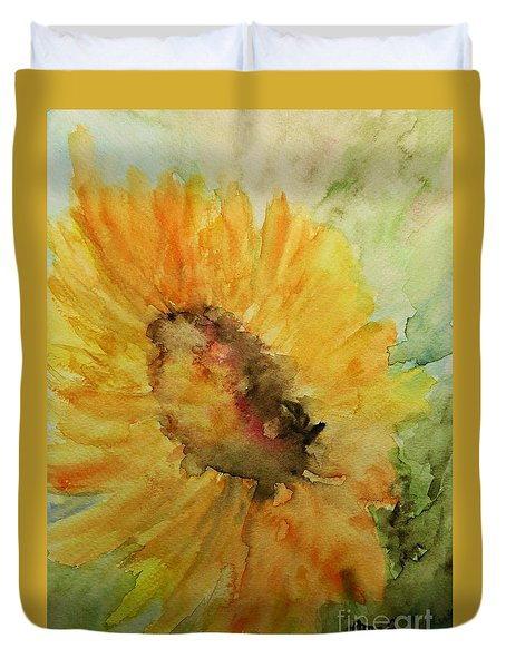 Sunflower Watercolor Duvet Cover by AmaS Art