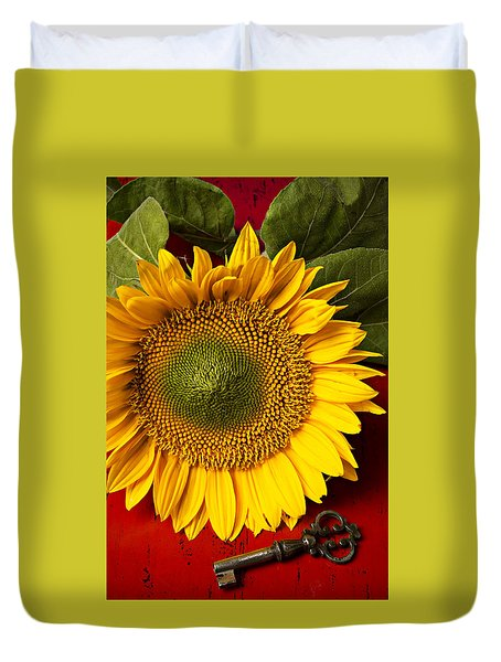 Sunflower With Old Key Duvet Cover by Garry Gay
