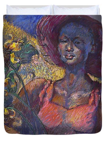 Sunflower Woman Duvet Cover