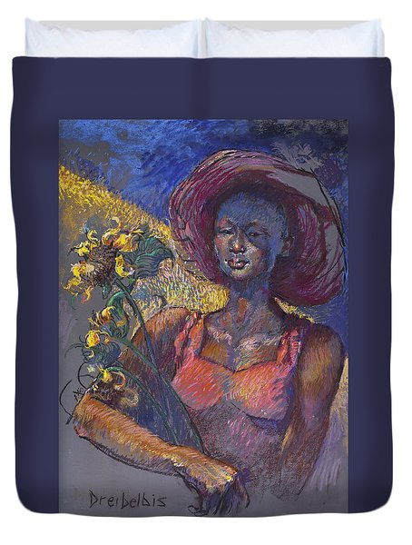 Sunflower Woman Duvet Cover