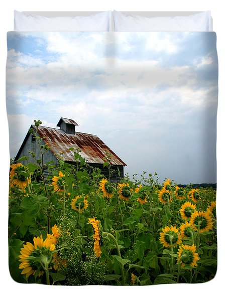 Sunflowers Along Rt 6 Duvet Cover