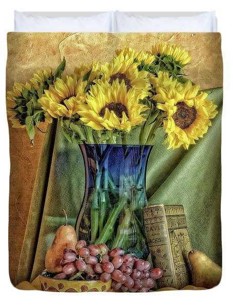 Sunflowers And Blue Vase Duvet Cover