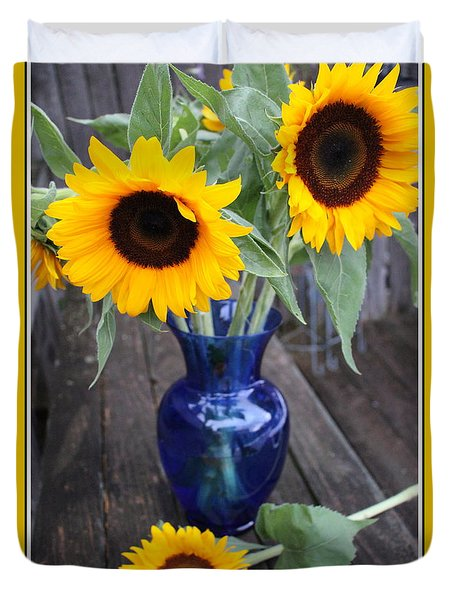 Sunflowers And Blue Vase - Still Life Duvet Cover by Dora Sofia Caputo Photographic Art and Design