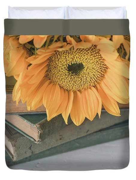 Duvet Cover featuring the photograph Sunflowers And Books by Kim Hojnacki