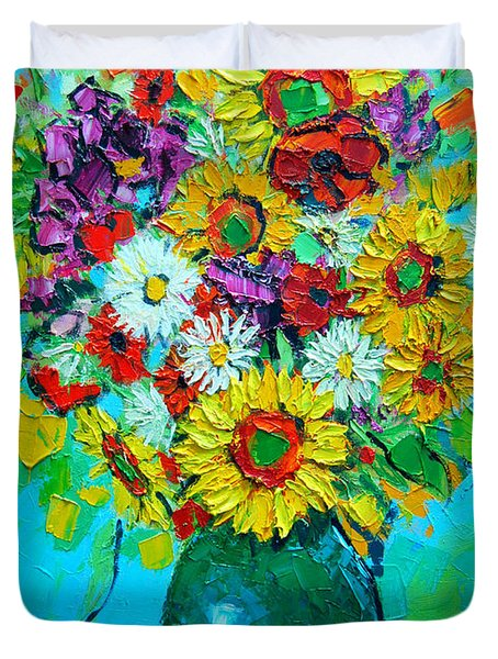 Sunflowers And Daises Duvet Cover by Ana Maria Edulescu