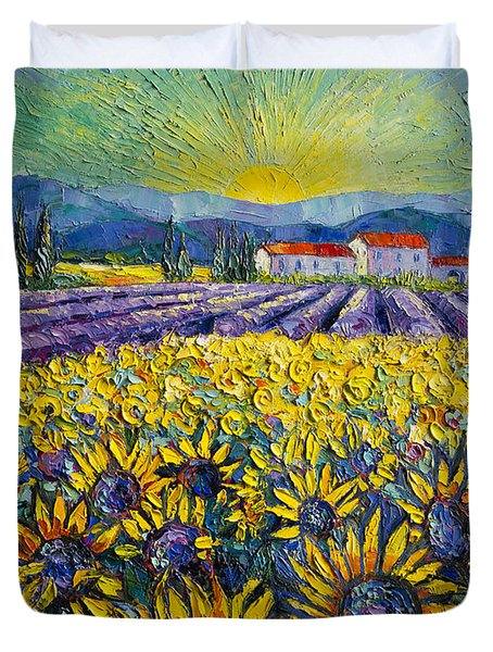 Sunflowers And Lavender Field - The Colors Of Provence Duvet Cover