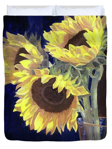 Sunflowers And Light Duvet Cover