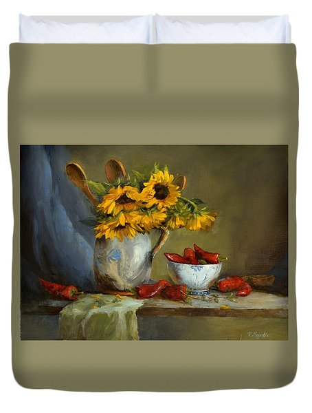 Sunflowers And Paprika Duvet Cover