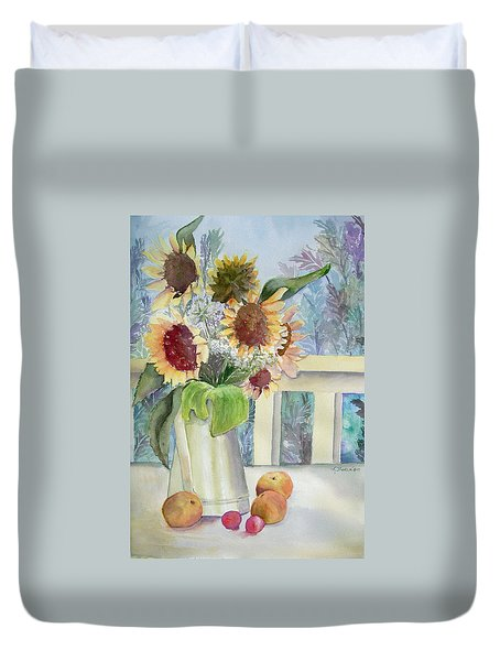 Sunflowers And Peaches Duvet Cover by Katherine  Berlin