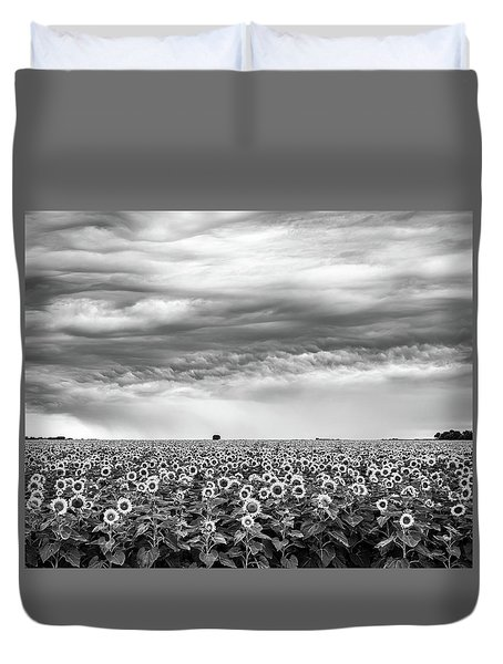 Sunflowers And Rain Showers Duvet Cover