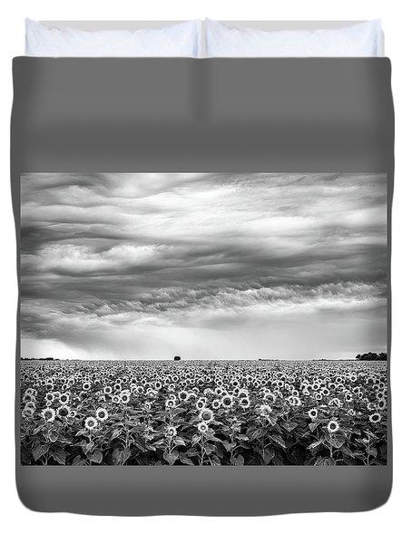 Sunflowers And Rain Showers Duvet Cover